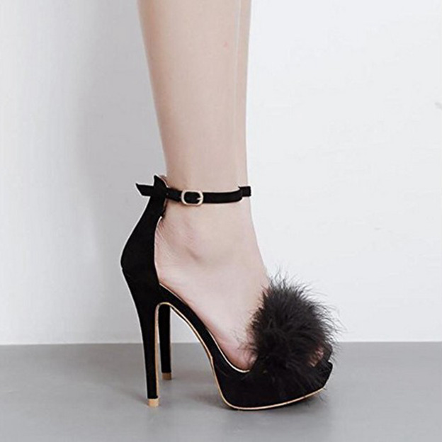 Women's Leatherette With Pom-pom/Ankle Strap Heels Peep Toe Fashion Shoes