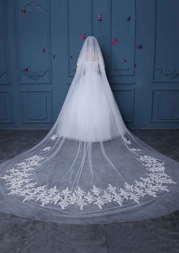 Two-tier Tulle Cathedral Bridal Veils With Applique/Lace
