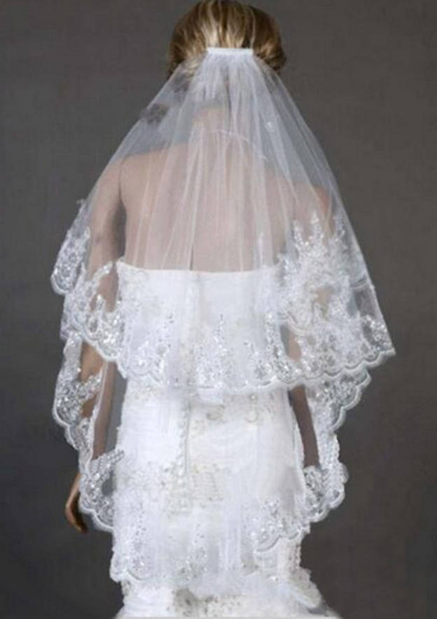 Two-tier Fingertip Bridal Veils With Lace Sequin