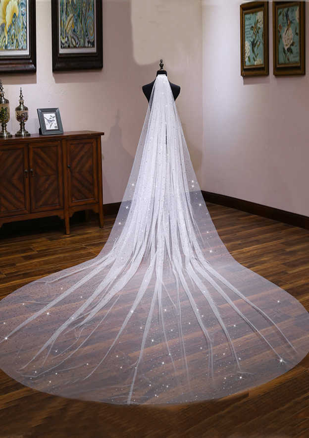 One-tier Cathedral Bridal Veils With Sequin