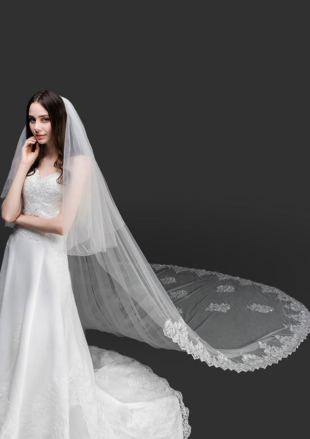 Two-tier Lace Applique Edge Tulle Cathedral Bridal Veils With Applique