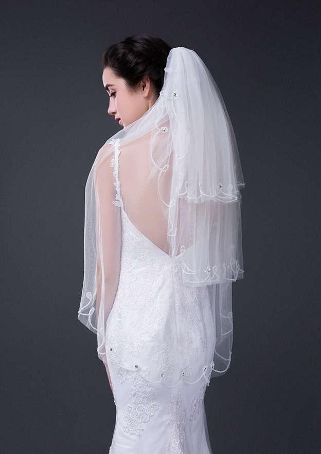 Three-tier Tulle Fingertip Bridal Veils With Rhinestones