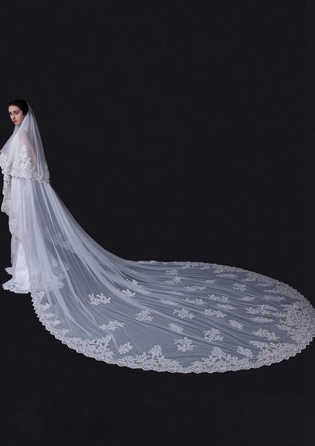 Two-tier Lace Applique Edge Tulle Cathedral Bridal Veils With Faux Pearl/Rhinestones