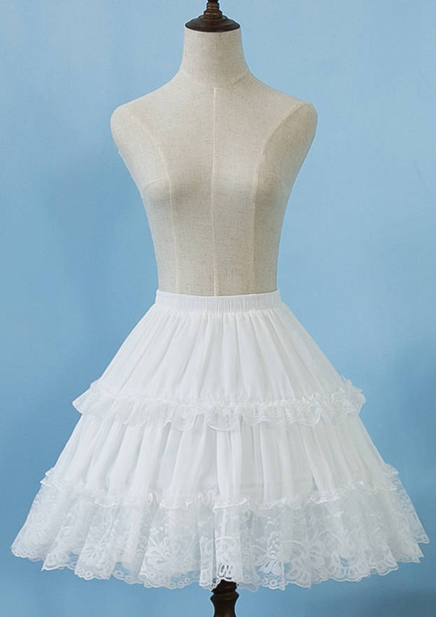 Women Lace/Polyester Knee-length 2 Tiers Bridal Petticoats