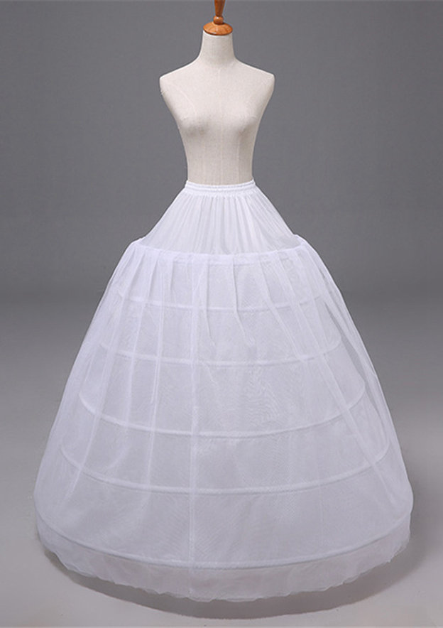Women Polyester/Tulle Netting Long/Floor-length 2 Tiers Bridal Petticoats