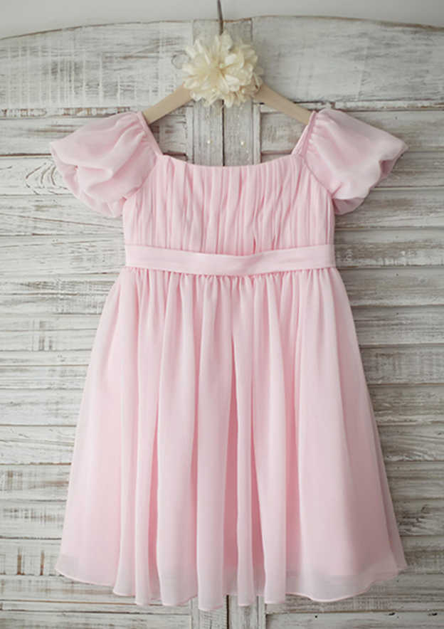 A-line/Princess Knee-Length Square Neckline Short Sleeve Chiffon Flower Girl Dress