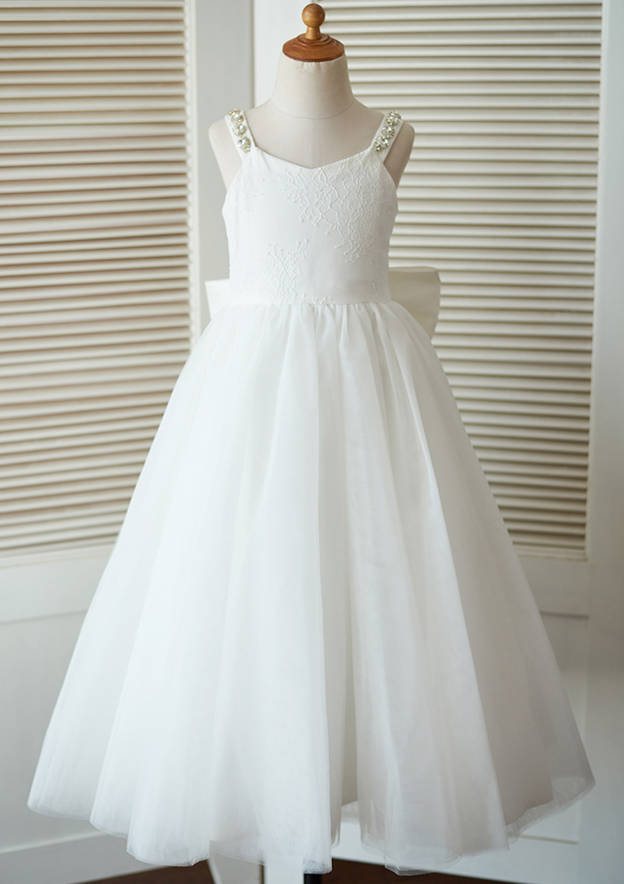 A-line/Princess Ankle-Length Scoop Neck Lace/Tulle Flower Girl Dress With Bowknot
