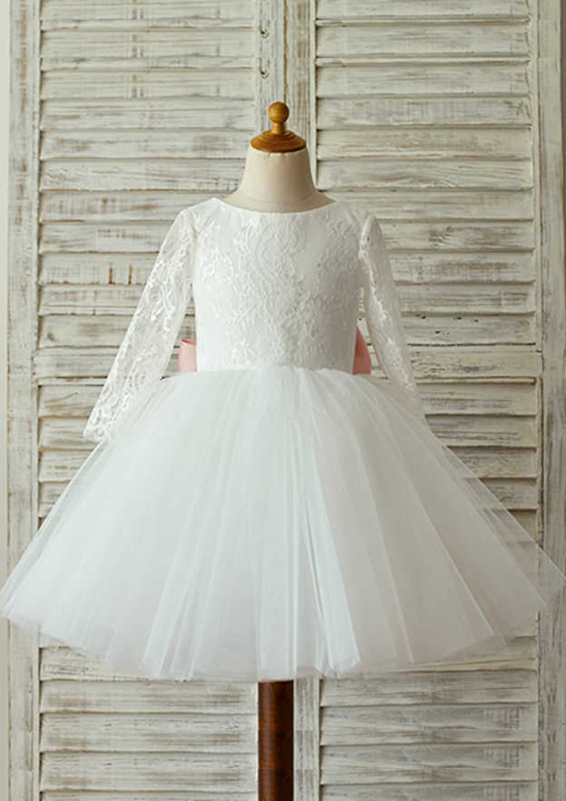 Ball Gown Knee-Length Scoop Neck Full/Long Sleeve Lace/Tulle Flower Girl Dress With Bowknot