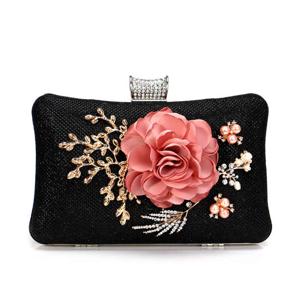 Beautiful Alloy Clutches With Flower Imitation Pearls