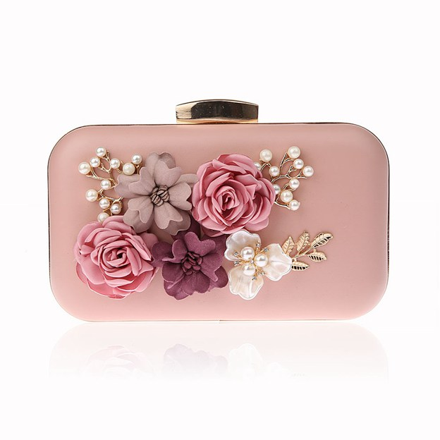 Beautiful PU Clutches With Imitation Pearls/Flower