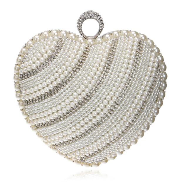 Gorgeous Polyester/Alloy Top Handle Bags/Evening Bags With Imitation Pearls/Rhinestone