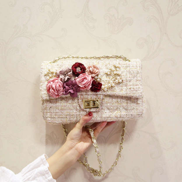 Beautiful Faux Fur Shoulder Bags/Evening Bags With Flower