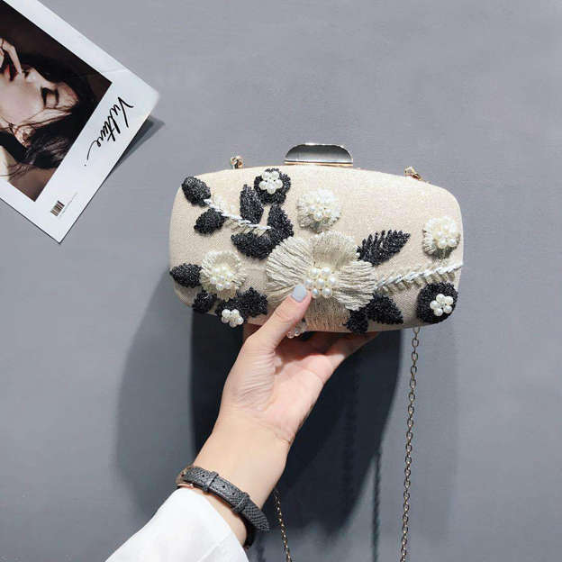Attractive Polyester Clutches/Evening Bags With Imitation Pearls