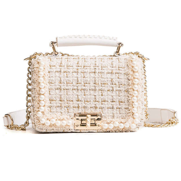 Charming Faux Fur Top Handle Bags/Shoulder Bags With Imitation Pearls