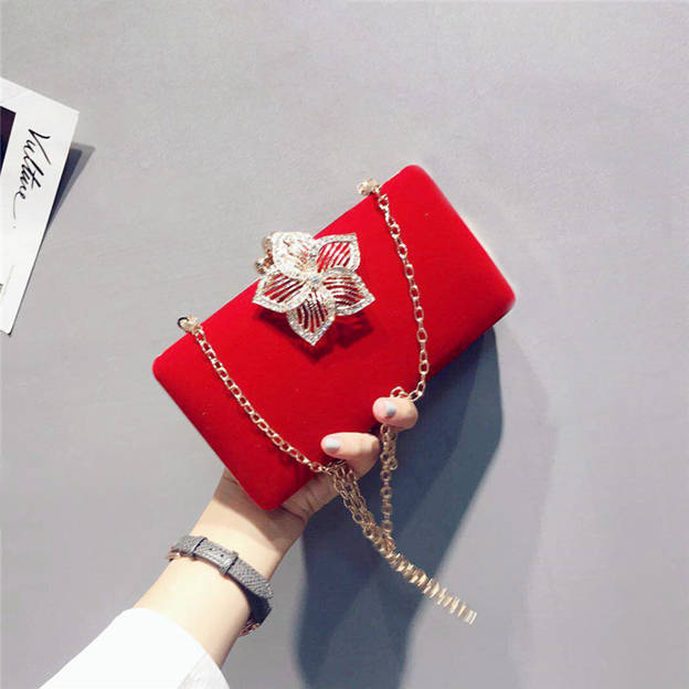 Beautiful Suede Clutches/Evening Bags With Flower