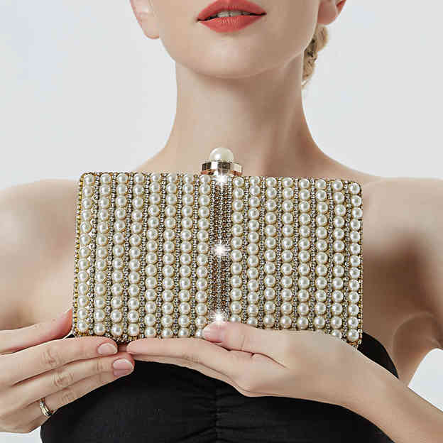 Fashionable PU Clutches/Evening Bags With Imitation Pearls