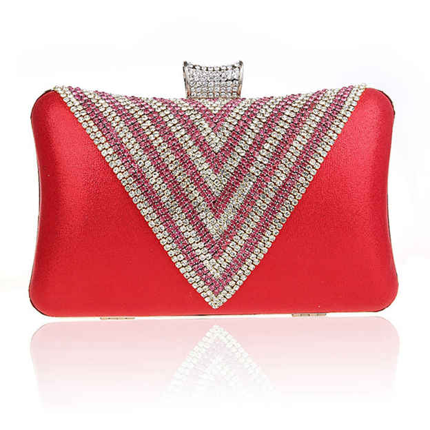 Attractive Polyester Clutches/Evening Bags With Rhinestone