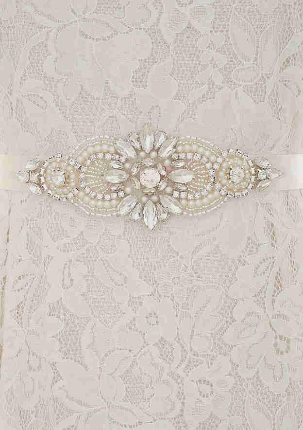 Charming Satin Sash With Imitation Pearls/Rhinestones