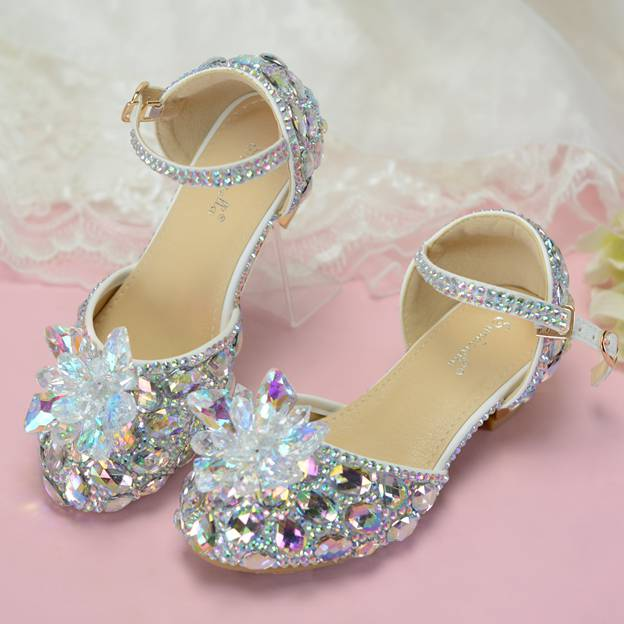 Girl's PU With Rhinestone Close Toe Shoes
