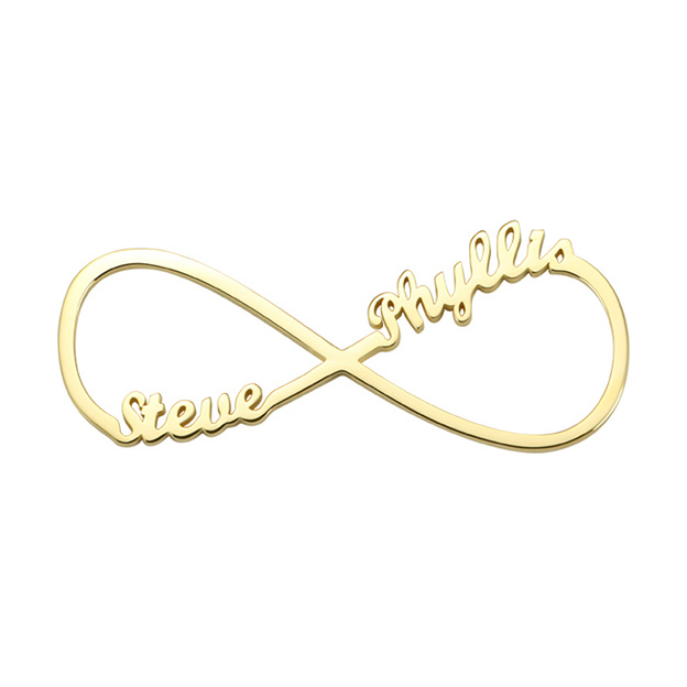 Personalized Customized Sterling Silver Two Name Engraved Infinity Round Necklaces