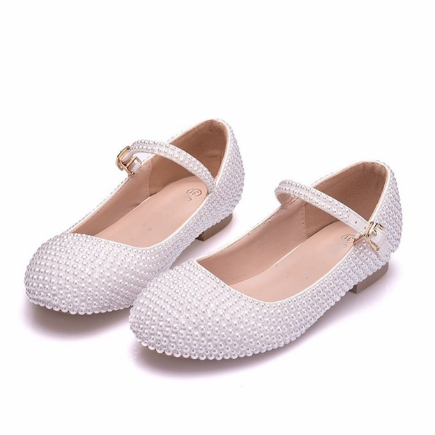 Girl's PU With Imitation Pearl Flats Shoes