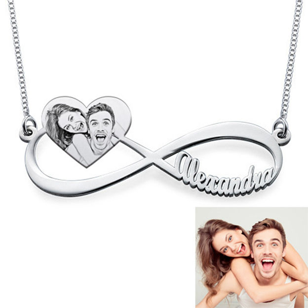Personalized Customized 925 Sterling Silver One Name Photo Heart Necklaces