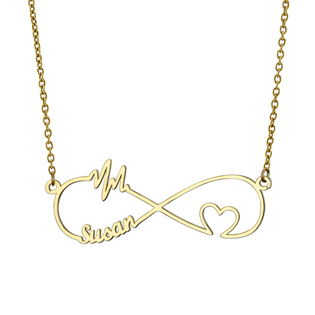 Personalized Customized 925 Sterling Silver One Name Infinity Heart Necklaces