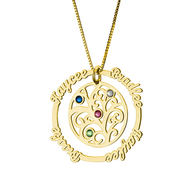 Personalized Customized 925 Sterling Silver Four Name Birthstone Family Circle Infinity Round Necklaces