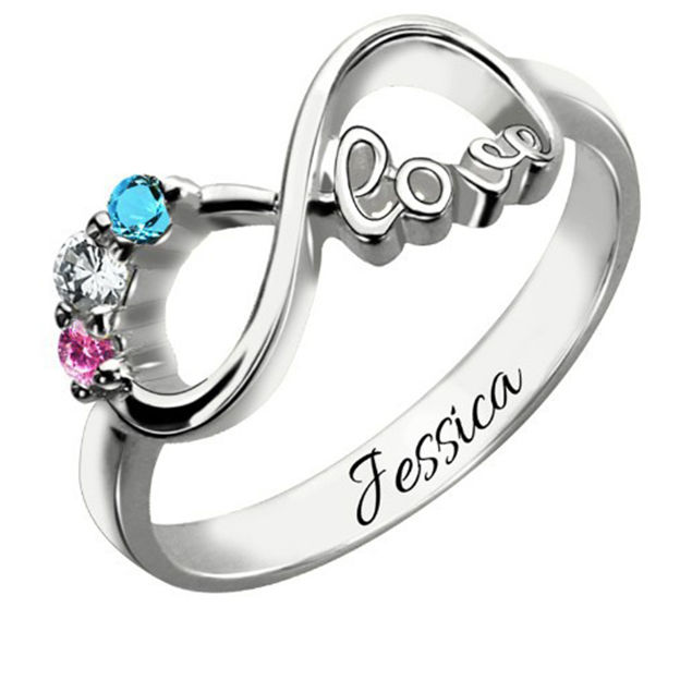 Personalized Customized 925 Sterling Silver Two Name Engraved Infinity Round Rings