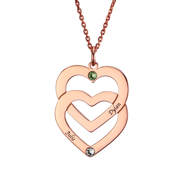 Personalized Customized 925 Sterling Silver Two Name Engraved Birthstone Overlapping Heart Round Necklaces