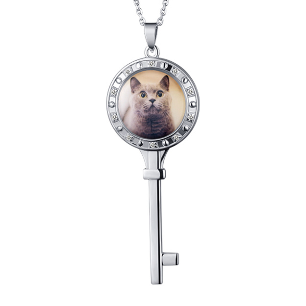 Personalized Customized 925 Sterling Silver One Photo Key Necklaces