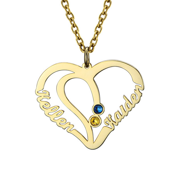 Personalized Customized 925 Sterling Silver Two Name Birthstone Infinity Heart Round Necklaces