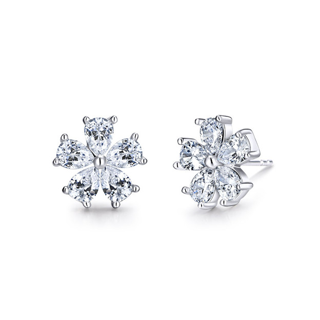 Women's Beautiful 925 Sterling Silver Earrings With Cubic Zirconia