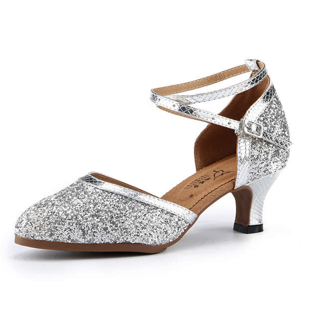 Women's Sparkling Glitter With Buckle Close Toe/Heels Dance Shoes