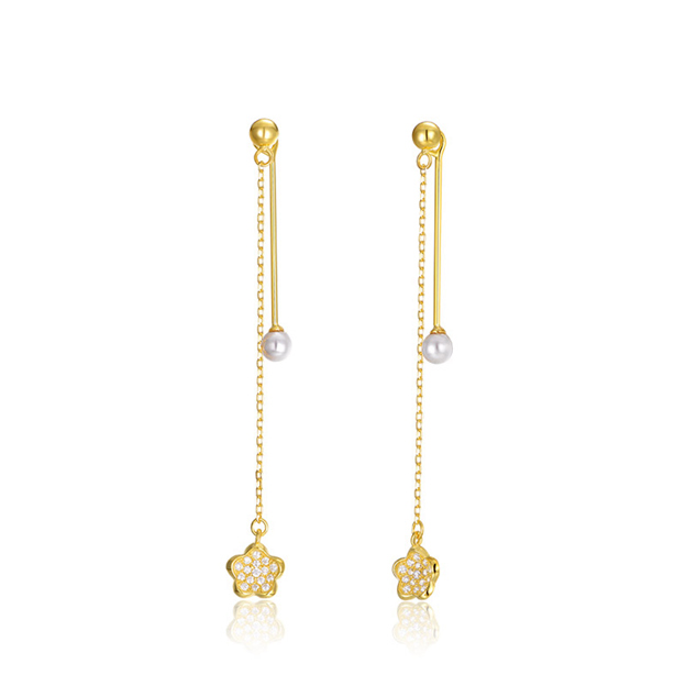 Women's Beautiful 925 Sterling Silver Earrings With Imitation Pearls