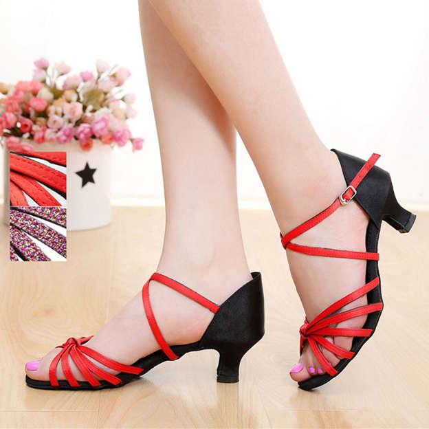 Women's Satin/PU With Buckle Peep Toe/Heels Dance Shoes