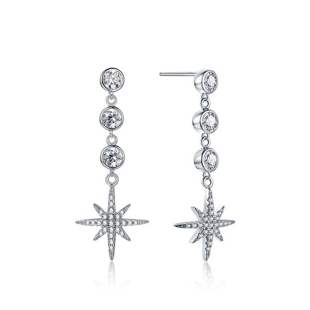 Women's Sparking 925 Sterling Silver Earrings With Cubic Zirconia