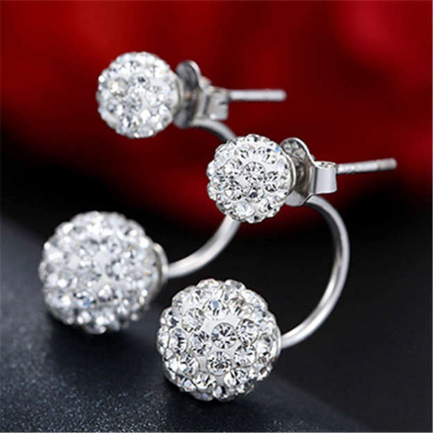 Ladies' Fashionable Silver Earrings With Rhinestone For Bride