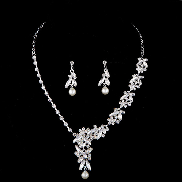Women's Romantic Silver Jewelry Sets With Imitation Pearls Rhinestone For Bride