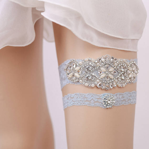Bridal Eye-catching Lace Garters With Rhinestone/Pearl