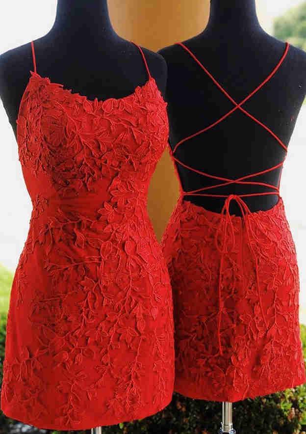 Sheath/Column Sleeveless Short/Mini Lace Prom Dress