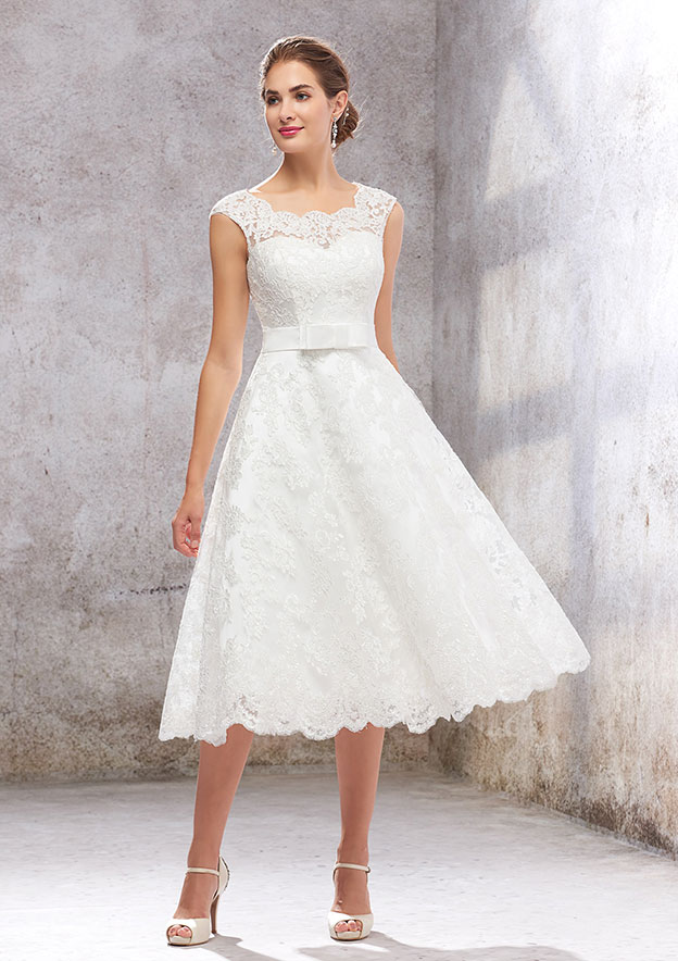 A-line/Princess Sleeveless Tea-Length Satin/Lace Wedding Dress