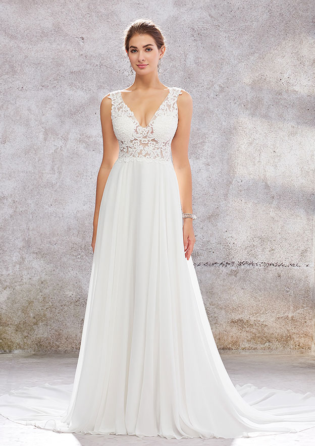 A-line/Princess Sleeveless Court Train Chiffon Wedding Dress With Lace