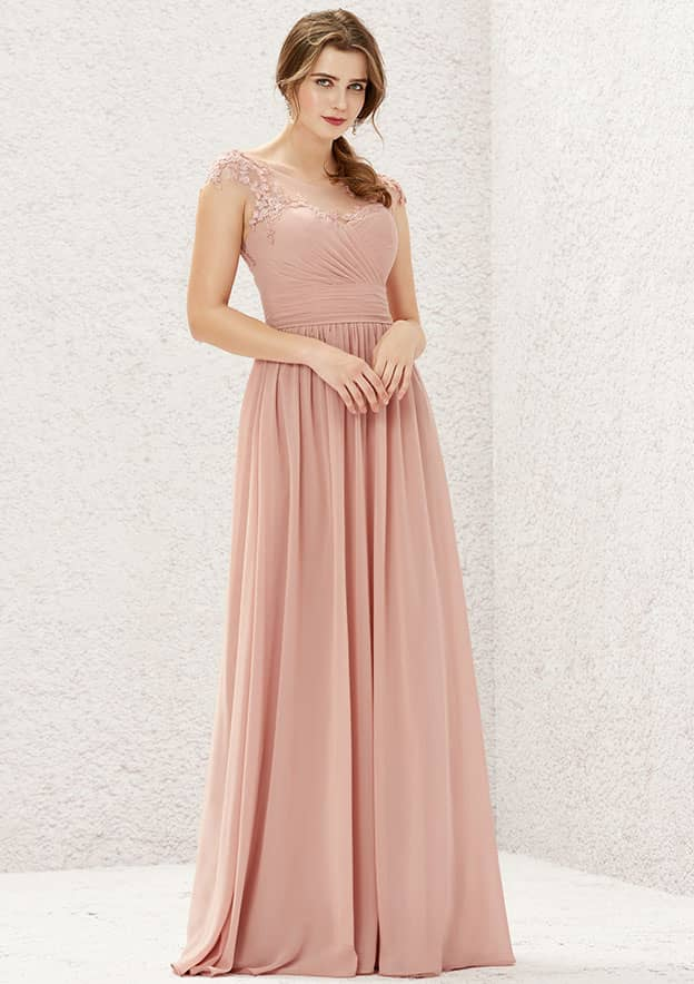 A-line/Princess Sleeveless Long/Floor-Length Chiffon Bridesmaid Dress With Pleated/Appliqued
