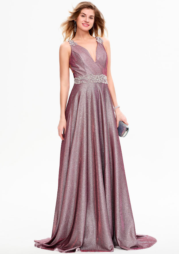 A-line/Princess Sleeveless Sweep Train Glimmering/Iridescent/Shimmer Jersey Prom Dresses With Sequins/Beading