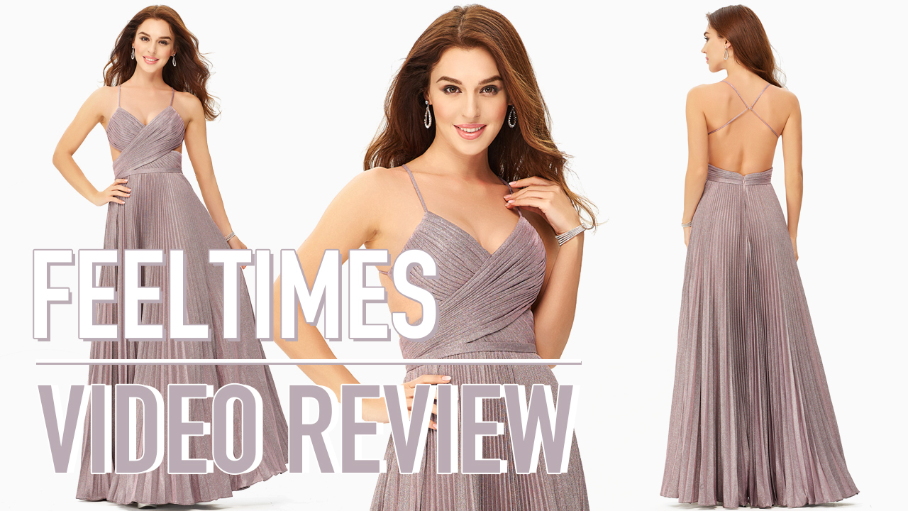 Prom Dress M19330P丨A-line Long Sparkly Cut out Prom Dress With Glitter Pleated - FeelTimes